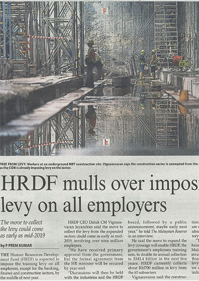 HRDF mulls over imposing levy on all employers